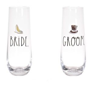 Rae Dunn Dining - Rae Dunn Stemless Bride and Groom Flutes Set of 2